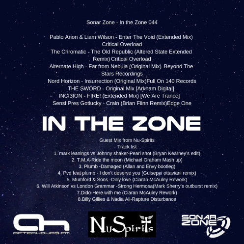 Sonar Zone - In the Zone 044 Pablo Anon & Liam Wilson - Enter The Void (Extended Mix) Critical Overload The Chromatic - The Old Republic (Altered State Extended Remix) Critical Overload Alternate High - Far from (1)